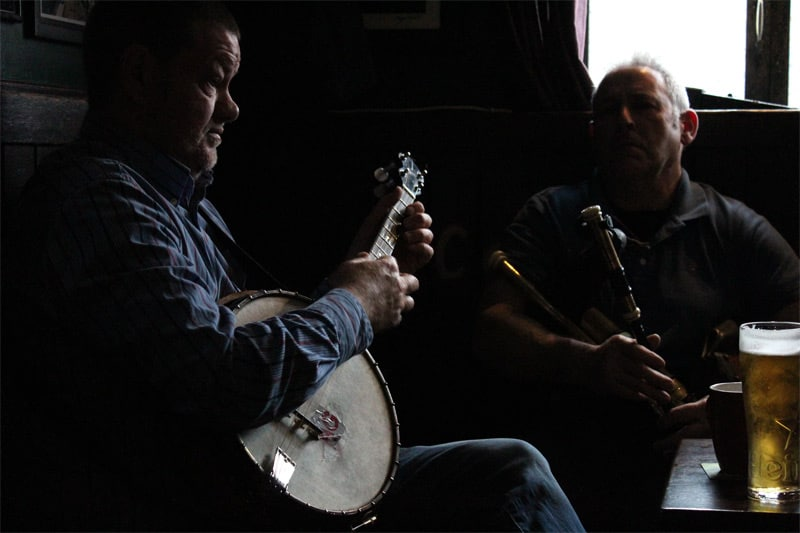 Irish musicians playing in a pub